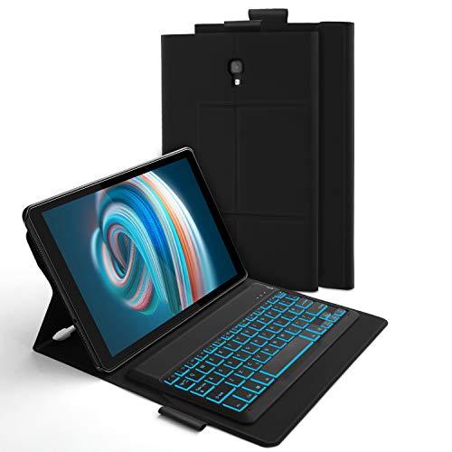 Jelly Comb Samsung Galaxy Tab A 10.5 Tastatur Hülle, Bluetooth Beleuchtete QWERTZ Tastatur mit Schützhülle für Samsung Galaxy Tab A 10,5 Zoll SM-T590/SM-T595, 7-farbigen Beleuchtung, Schwarz