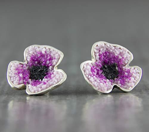Damen-Ohrstecker Mohn-Blüte Violett 925 Sterling-Silber Designer-Schmuck Ohrring (Mohn Sterling Silber)