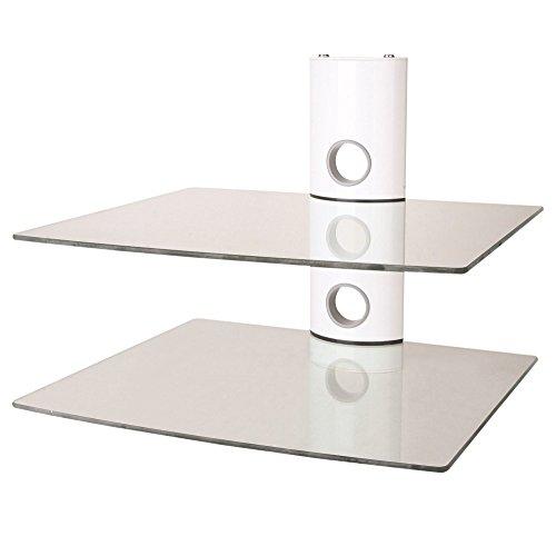 NEG Multimedia TV-Rack SUSPENDER 502W (weiß) mit 2 Glas-Ablagen (extra groß, 15kg pro Ablage) und Kabelmanagement-System
