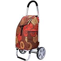 Jizhi Trolley portátil Remolque de Equipaje abigarrado Carro de carros Plegable de Aluminio Que Sube escaleras
