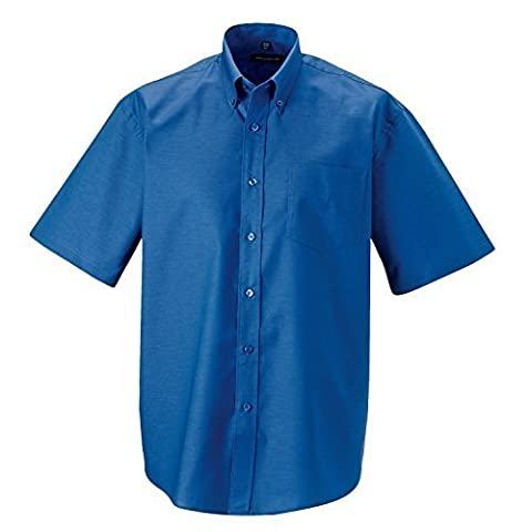 Russell Collection Short Sleeve Easycare Oxford Shirt - Aztec Blue - 19.0