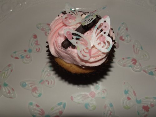 (25 vorgeschnittenen Pastelltupfen essbare Schmetterling-Kuchen-Deckel-Dekorationen)