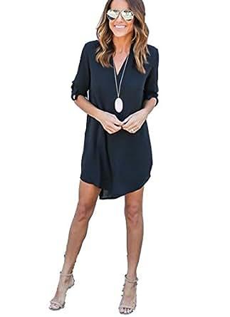 ASSKDAN Mini Hemdkleid Chiffon Lange Ärmel V Ausschnitt Casual Blusenkleid Minikleid