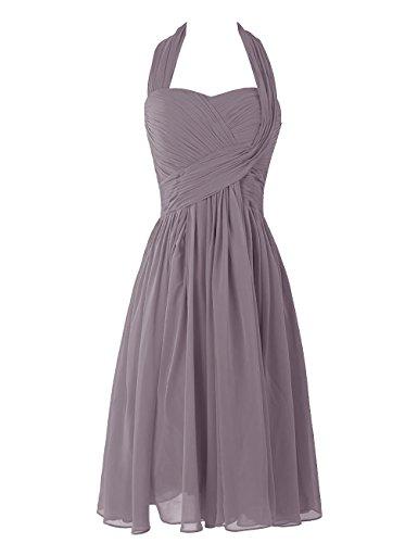 Dresstells, A-ligne robe mousseline de demoiselle d'honneur robe de soirée de cocktail longueur au genou Gris
