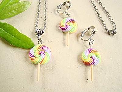 Coffret cadeau anniversaire collier et boucles d'oreilles clips enfants sucettes lollipops fimo, bijoux fimo multicolore
