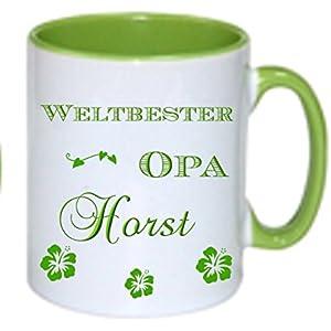 Kaffeebecher + WELTBESTER OPA + Tasse mit Namen Namentasse personalisiert nach Wunsch super Weihnachtsgeschenk, Geburtstag auch Oma, Papa oder Mama als Aufdruck möglich.