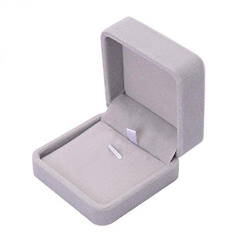 Boite Cadeau Bijoux, Angelof Gris Coffret à Bague Velours Forme Ecrin Cadeau Rangement Bague Anneau Boite Bijoux Ring Box Pour Mariage Anniversaire