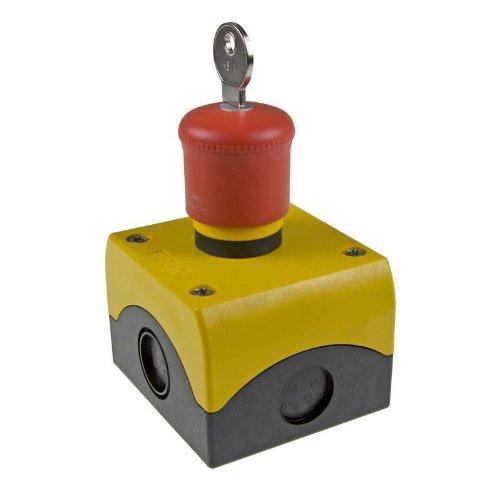 Eaton 216523 M22-PVS/KC11/IY NOT-HALT/AUS-Taste, d = 38 mm, schlüsselentriegelt, unbeleuchtet, 1 Öffner, 1 Schließer, Aufbau, Rot, Gelb
