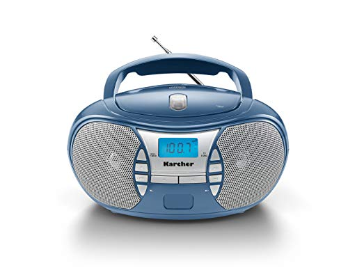 Karcher RR 5025-C tragbares CD Radio (CD-Player, UKW Radio, Batterie/Netzbetrieb, AUX-In) blau (Kleine Radio-cd-player)