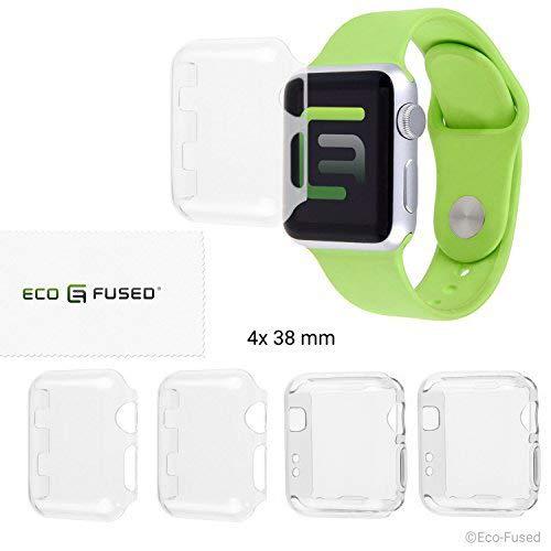Eco-Fused Schutzhülle Kompatibel mit Apple Watch 2 (38 mm) - 4-Pack (2 x hart, 2 x weich) - Transparente Schutzhüllen - Schützt Ihre Apple Watch Series 2 vor Stößen & Kratzern