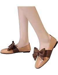 Zapatos de Vestir Chic para Mujer Otoño PAOLIAN Calzado de Cuero Dama Plano  con Bowknot Merceditas Fiesta Suela Blanda Moda Cómodos… 274fde3e507b