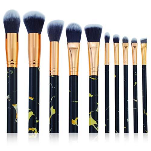 Cdet. 10Pcs Kit De Pinceau Maquillage en Visage et Oeil avec Cosmétiques Brush Ensemble Fondation Mélange Blush Yeux Poudre Brosse Make Up Série de marbre de Grain Or Noir