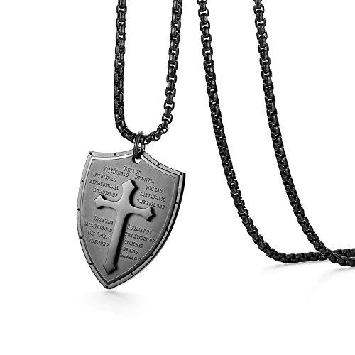 Oidea Edelstahl Bibel Gebet schwarz Kreuz Anhänger mit Silber 55cm Kette Halskette für Herren Männer (Schild Kreuz Anhänger) - Halskette Kreuz Anhänger Silber