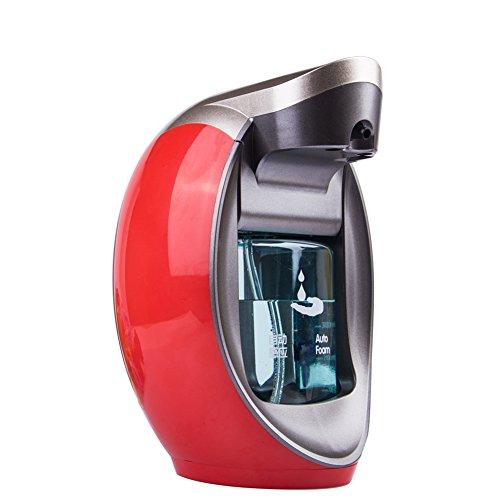 gaeruite Dispensador de Jabón automático Dispensador de Jabón con Sensor de Espuma, dispensador de Jabón Manos Libres para Baño, Cocina o Hotel, 480 ML, B:Red, as Show