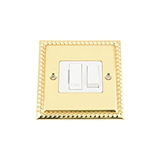 Fused Switch - Polished Brass Georgian - White Insert Plastic Switch - 13 Amp Switched Fused Spur Unit