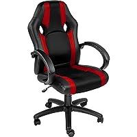 TecTake Chaise de Bureau Fauteuil siège Racing Sport Tissu - diverses Couleurs au Choix - (Rouge | no. 402159)