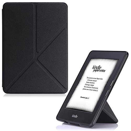 MoKo Kindle Paperwhite Hülle - Kunstleder Origami Ständer Schutzhülle Smart Cover mit Auto Sleep / Wake für Alle Kindle Paperwhite (2016 / 2015 / 2013 / 2012 Modell mit 6 Zoll Display), Nicht Kompatibel für All-new Paperwhite 10th generation 2018, Schwarz