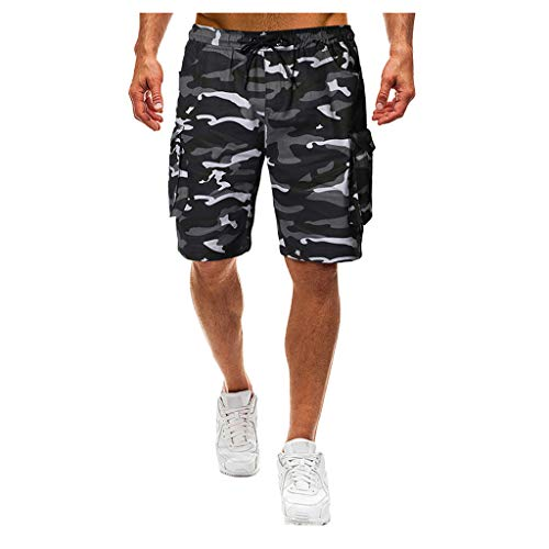 MOTOCO Herren Casual Print Shorts Sommer Sport Camo Cargo Shorts elastische Taille Tasche(XL,Dunkelgrau-2) Taille Camo