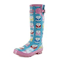 Womens Wyre Camper Van Blue Pink Wellington Boots Fun Fashion Wellies SIZE 5