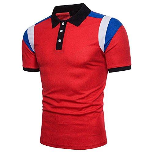ASHOP Herren-Buttons Design Halber Cardigans Short Sleeve Slim Fit Casual T-Shirt (XL, rot)