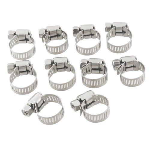 10 piezas 9mm-16mm regulables de acero inoxidable de tornillo sin fin para abrazaderas de tubo flexible