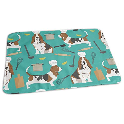 Themed Cooking Dog Breed Turquoise Baby Portable Reusable Changing Pad Mat 19.7x27.5 inches ()