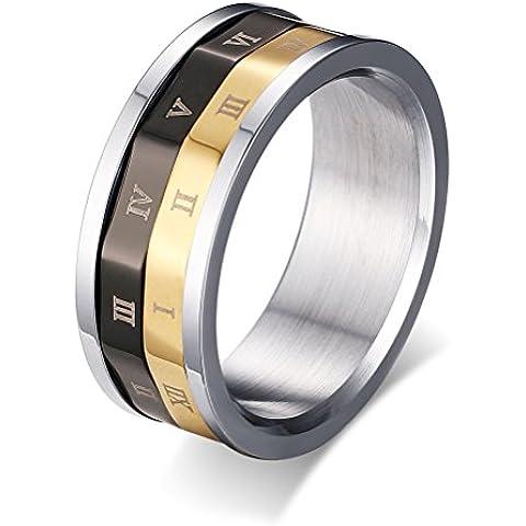 Da uomo donna, in acciaio INOX, con numeri romani fidanzamento-Fede nuziale, oro, argento, nero