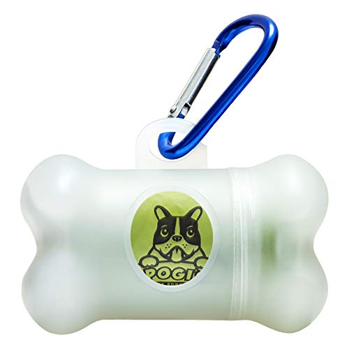 Pogi's Kotbeutelspender - 1 Rollen (15 Tüten) - große, biologisch abbaubare, parfümierte, tropfsichere Hundetüten (weiß) (Größte Abfall-taschen)