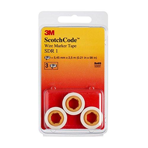 3M ScotchCode SDR-1 Kabelmarkierer Nachfüllrollen, Ziffer 1 (3-er Pack)