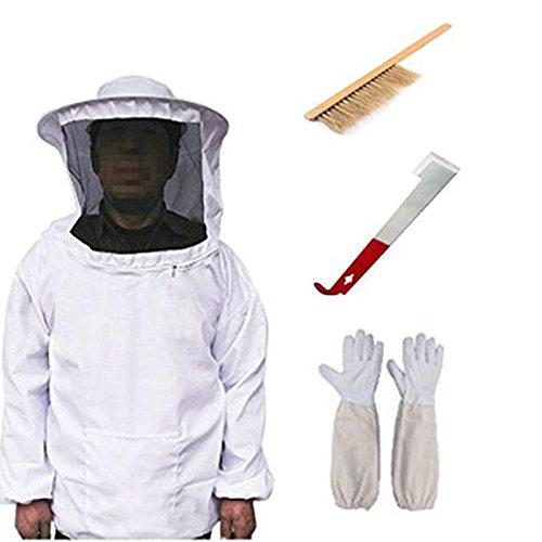 Apiculture équipement, Apiculture de protection Veil Smock équipement Apiculteur Suit Manteau avec chapeau et gants et Bee Hive Brosse et J Crochet Hive Outil Ensemble par Soleil D