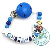 Baby Schnullerkette mit Namen, Feuerwehr, Stern, Blau, Handmade Namenskette/Schnullerhalter zur Geburt, Geburtstag, Taufe für Junge