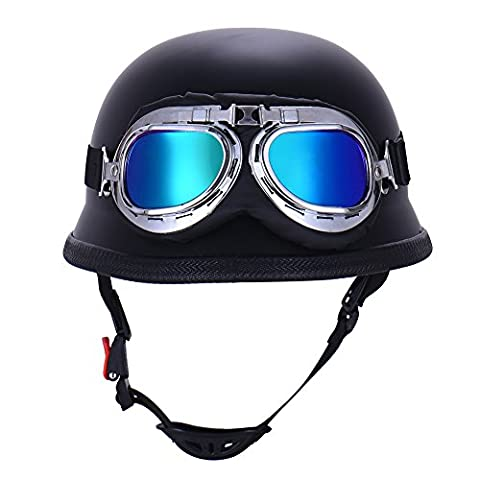 Vintage German Style Half Open Face Motorcycle Helmet With Goggles Glasses for Men Women (1Pcs