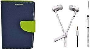 Novo Style Fancy Diary Wallet Flip Cover Case For Motorola Moto G (Gen 2) Blue + Zipper Earphones/Hands free With Mic 3.5mm jack