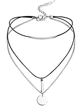 Adisaer Collier Damen Edelstahl Choker Halskette Multilayer Long Bar Round Tag Silber Schwarz 31.8+8CM Länge