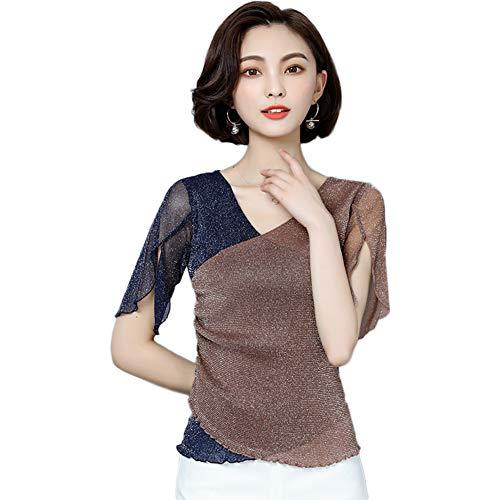 GZYD Frauen-T-Shirt Schlanke Kurze Ärmel Schlank Mesh Top mit V-Ausschnitt Wild Mode Temperament Helle Seide Leicht Atmungsaktiv Kurzärmeliges T-Shirt,XXXXL