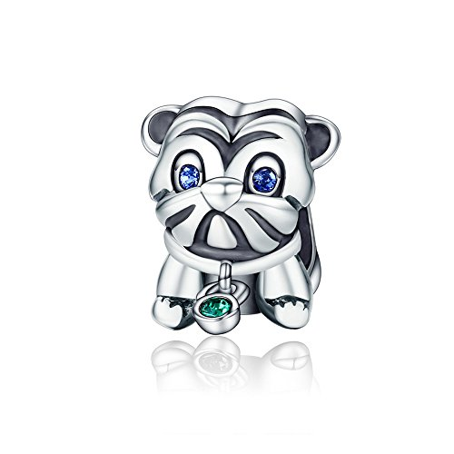 Authentic S925 Sterling Silver Charms Chiot Chien Paw Print for European Bracelets