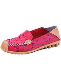 YAANCUN Mujeres Moda Los Zapatos Del Holgazán Hueco De Mocasín Talón Plano Verano Cuero Zapatos