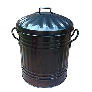 Black 15 Litre Steel Galvanised Dustbin