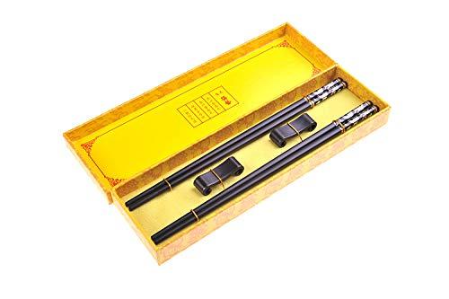 Quantum Abacus Black Metal Set de Baguettes de Luxe en Alliage métallique dans Coffret Cadeau - 2 Paires des Baguettes en métal Noir, 2 Supports en Bambou, SC-H-S2-ML-08