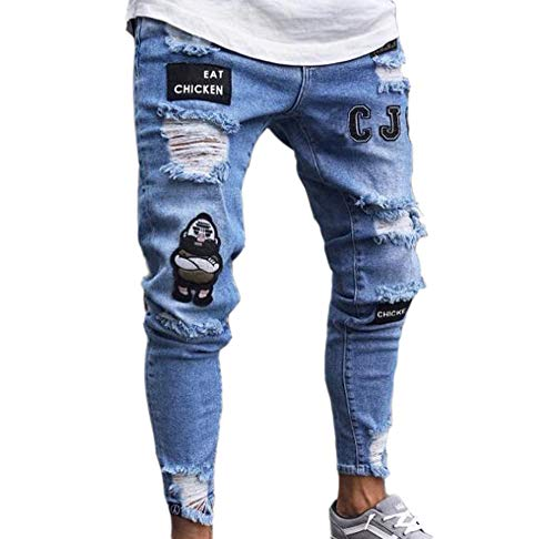Hip-Hop-Jeans Stretch-Röhrenjeans Ripped Destroyed Loch Design Denim-Hosen ()