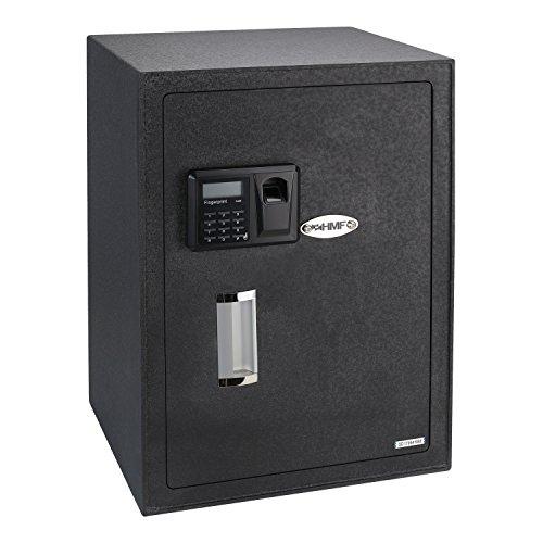 HMF 49125 Möbeltresor Fingerabdruckscan, Elektronikschloss, Safe inkl. 3 Schlösser, 35 x 50 x 31 cm
