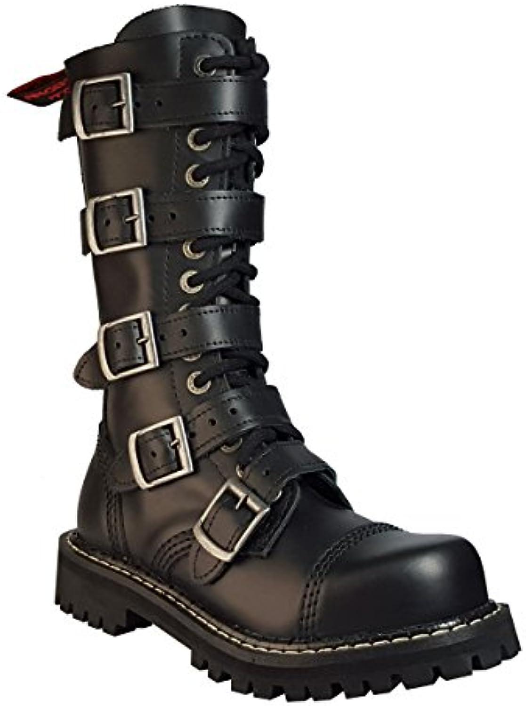 Angry Hitch 14 Hoyos Botas de Cuero Militares color Negro Puntera de Acero 5 hebillas Punk