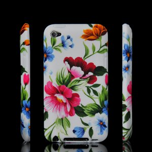 Bianco e Rosa fiori in silicone per Apple iPod Touch 4 G 4th Generazione iTouch by Blu valley