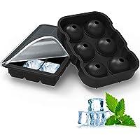 homgeek  Bandeja de Cubitos de Hielo Molde de Silicona Combinado - Juego de 2, Bola esférica para Hacer Hielo con Tapa y moldes Cuadrados Grandes, Reutilizables y sin BPA