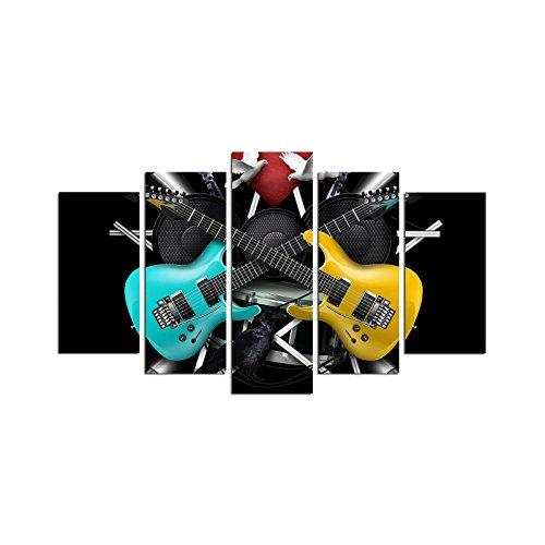 Asir Group LLC, Dipinto decorativo su pannelli MDF 5M-81, motivo: chitarre elettriche, Multicolore (Bunt)