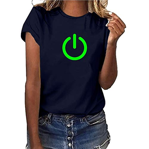 Yvelands-Damen Tops T-Shirt Mädchen Plus Size Print Shirt Kurzarm Bluse Tops(Navy3,XXXL)