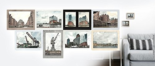 Hamburg | Eine illustrierte Fotogeschichte | Illustration auf Büttenkarton handsigniert in 13 x 18 cm, ungerahmt, 400x18-8er