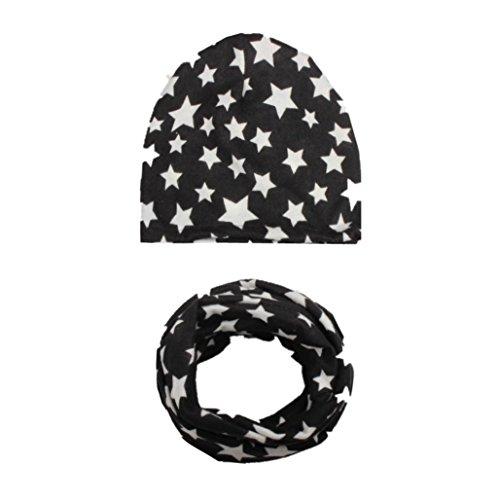 LuckyGirls Pentagramm Hut + Schal Set Baby Mädchen Junge Kinder Kleinkind Hüte Halswärmer Lätzchen (Schwarz)