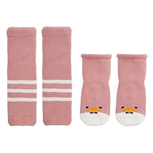 ANIMQUE Baby Mädchen Socken mit Stulpen 1-3 Jahre Rutschfest Baumwolle Söckchen Beinlinge Beinwärmer für Krabbeln Lauflernen, Gestreift Rosa Entlein XS