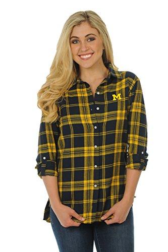 UG Apparel NCAA Michigan Wolverines Women's Boyfriend Plaid Shirt, Navy/Gold, X-Large -